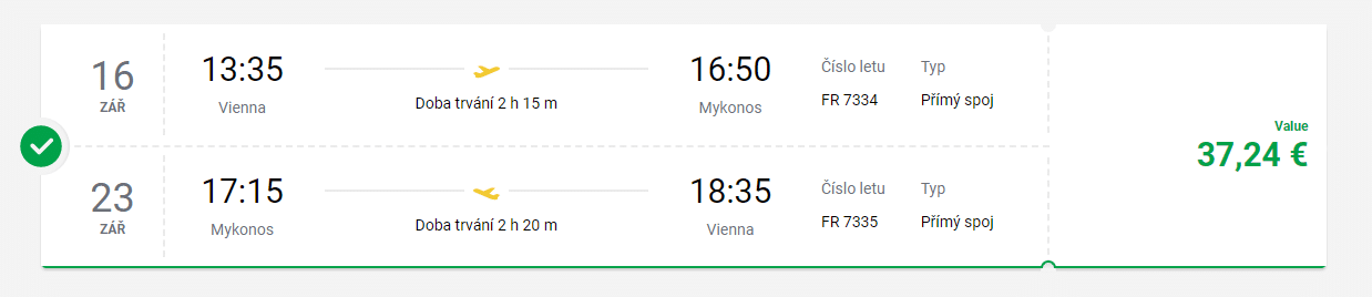 letenky z Viedne na Mykonos