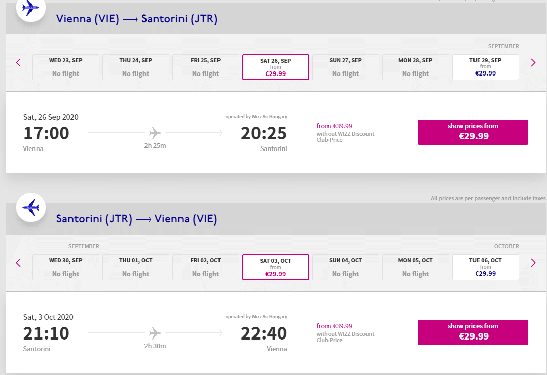letenky z Viedne do Santorini