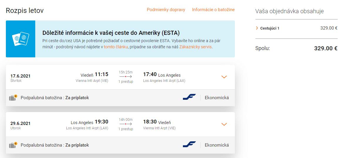 letenky z Viedne do Los Angeles