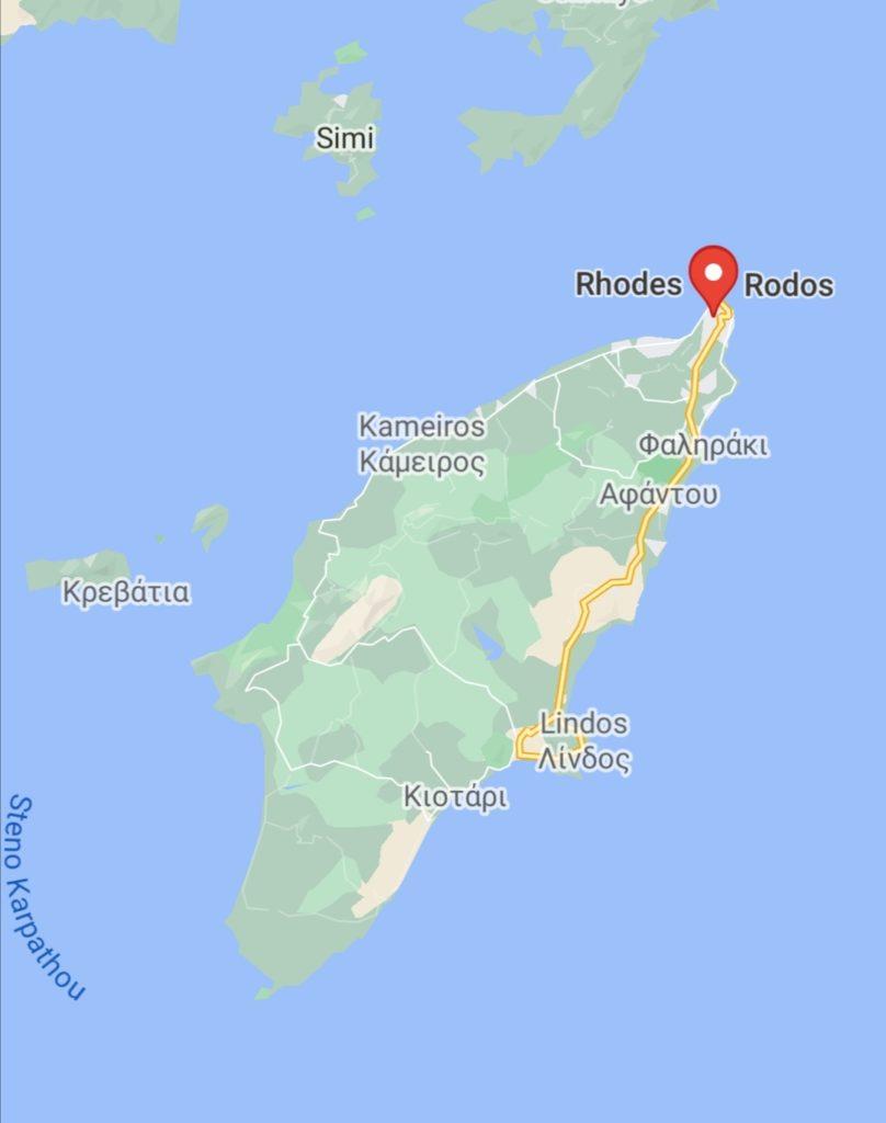Mapa ostrova Rhodos