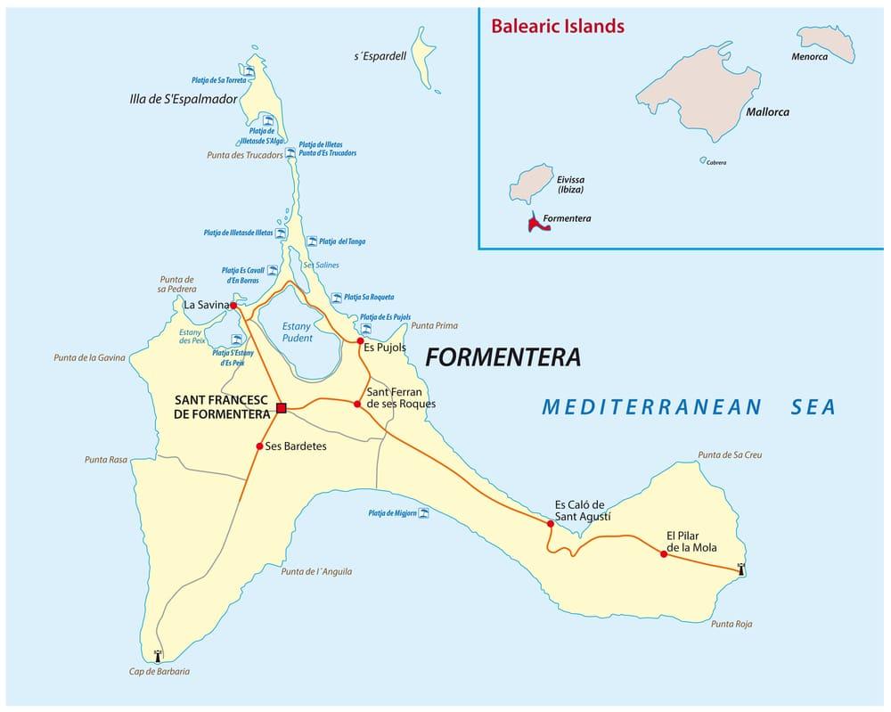 Mapa formentery, modrá plocha predstavuje more žlté ostrov Formneteru