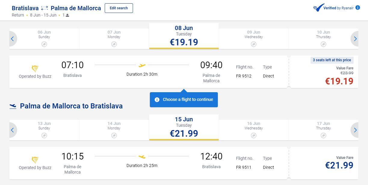 letenky z Bratislavy do Palma de Mallorca