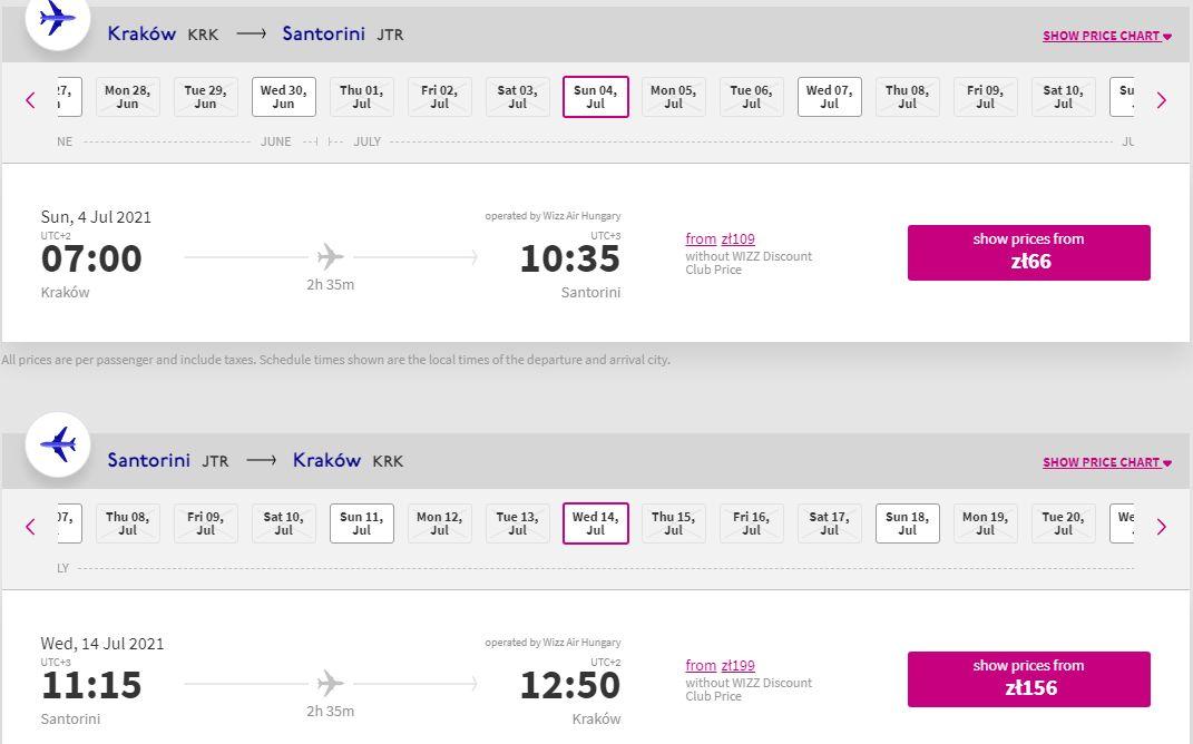 letenky z Krakova do Santorini