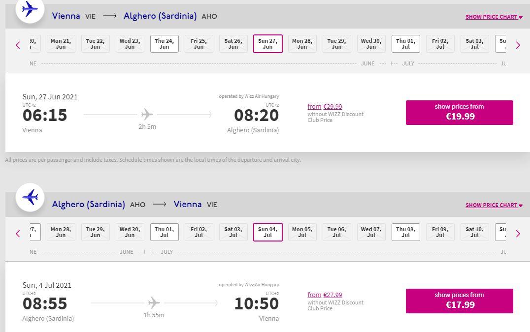 letenky z Viedne do Alghera
