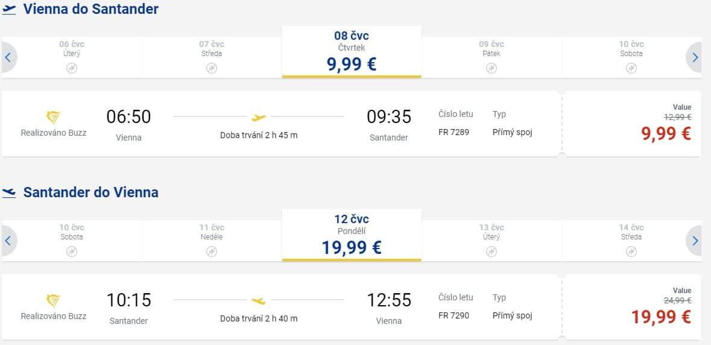 letenky z Viedne do Santanderu