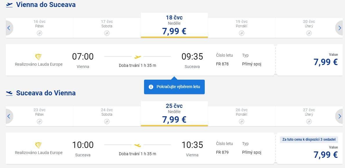 letenky z Viedne do Rumunska