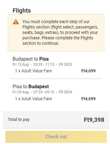letenky z Budapešti do pisy