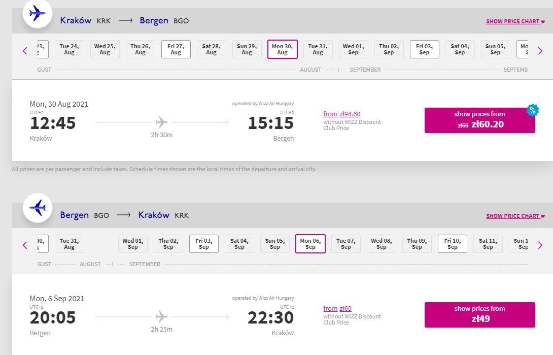 letenky z Krakova do Bergenu
