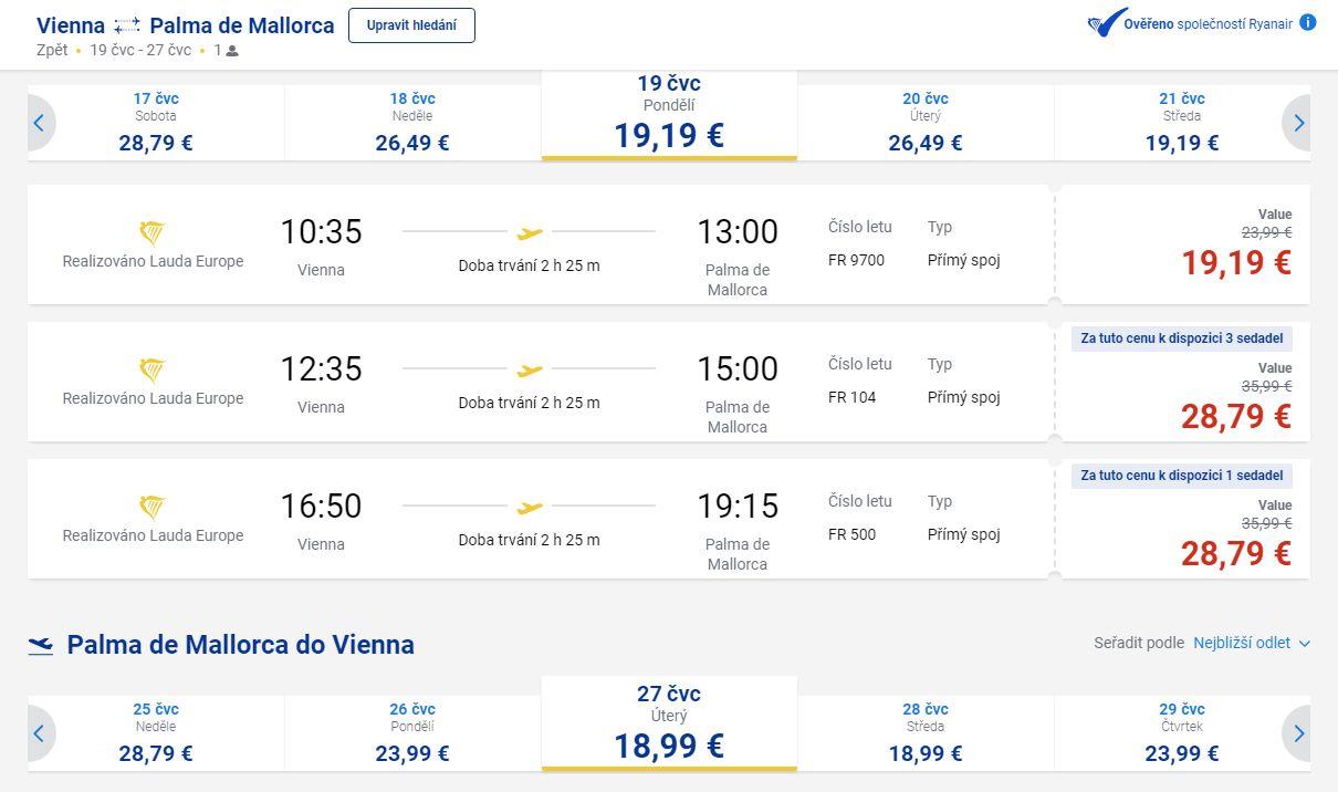 letenky z Viedne na Malorku