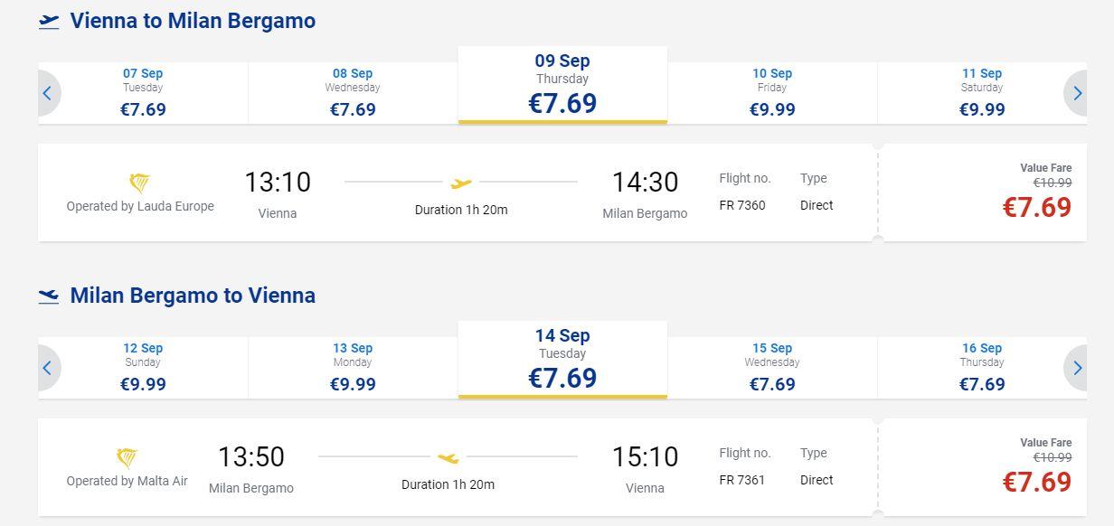 letenky z Viedne do Milána Bergama