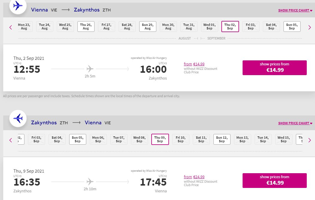 letenky z Viedne na Zakynthos