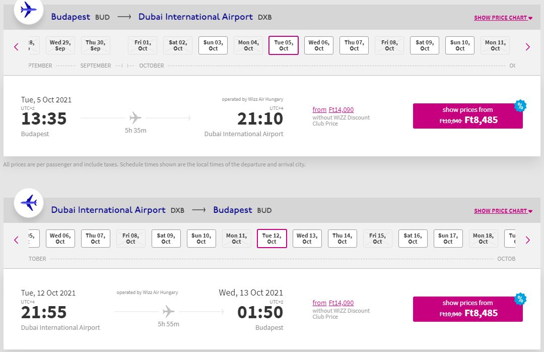 letenky z Budapešti do Dubaja