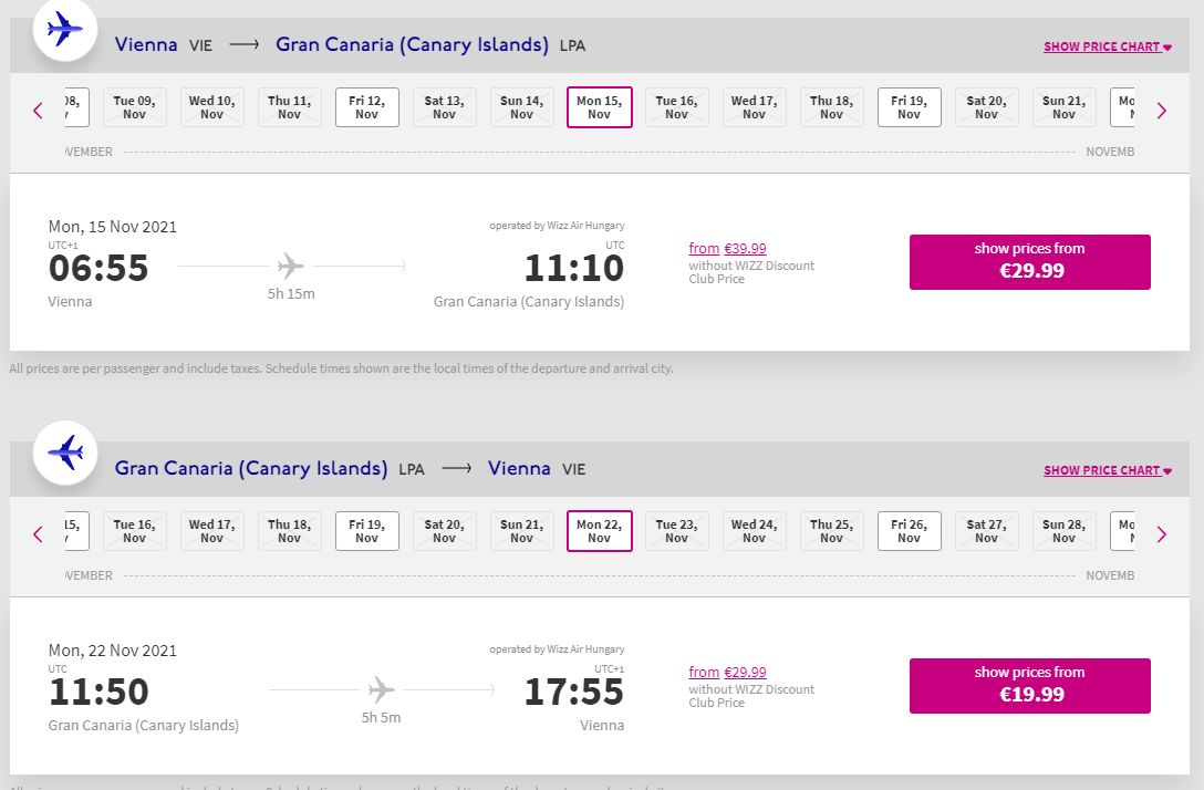 letenky z Viedne na ostrov Gran Canaria