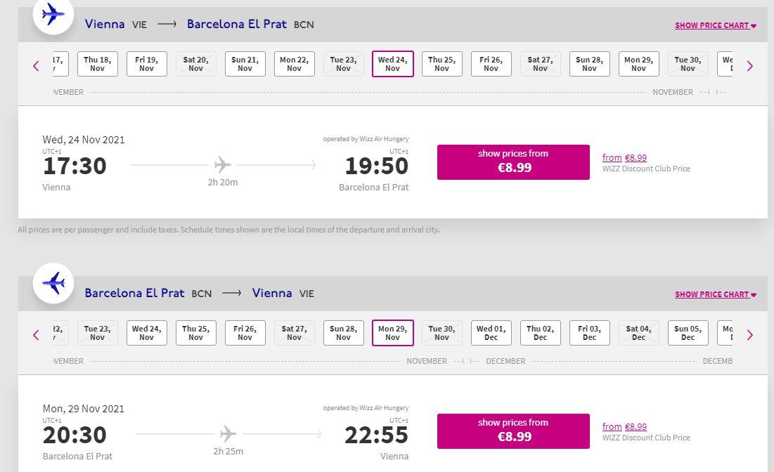 letenky z Viedne do Barcelony