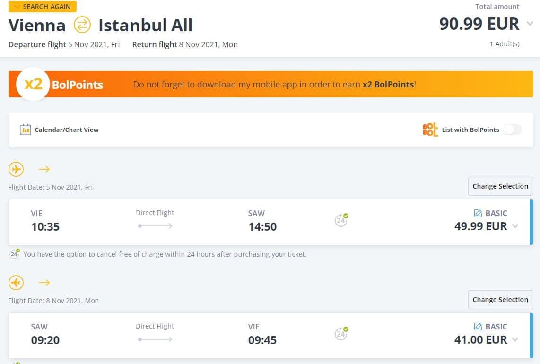 letenky z Viedne do Istanbulu