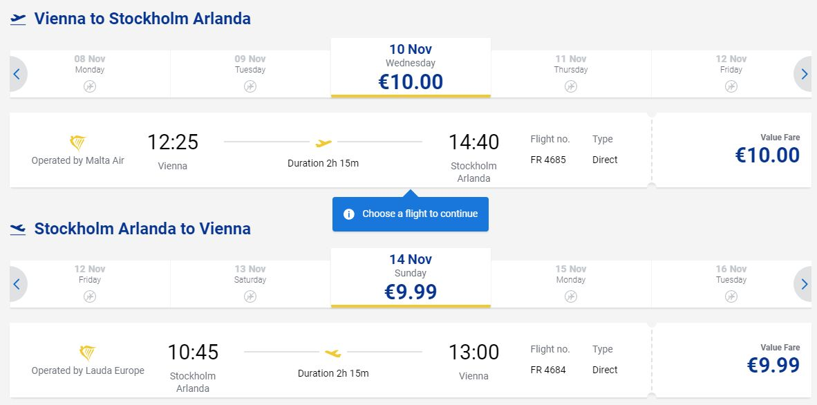letenky z Viedne do Štokholmu